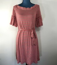 Spense Women's Casual Striped T-Shirt Dress Red White Boat Neck Tie Wais... - $24.18