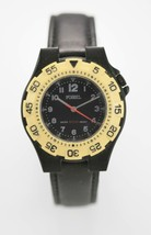 Fossil Watch Mens Stainless Steel Black Leather 50m Water Resist Battery... - $33.46