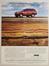 1999 Print Ad for The Jeep Grand Cherokee Red with 4x4 Four-Wheel Drive - $11.56