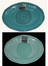 IL MULINO Mint or Teal Beaded Hobnail Medallion Scalloped Melamine Platt... - $36.99