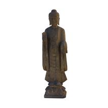 Chinese Gray Stone Carved Standing Abhaya Mudra Buddha Statue cs4774 - £3,479.39 GBP