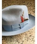 BRONER Fedora Mens CAPONE Hat Water repellent Soft Wool Felt LIGHT BLUE ... - $57.37