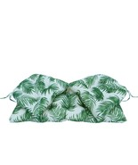 Northlight 3 Green White Tropical Palm Frond Wicker Furniture Patio Cush... - $82.90