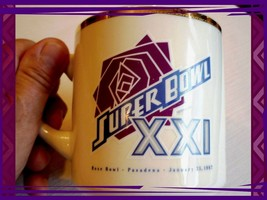 Vintage 1987 Super Bowl XXI Giants Broncos Coffee Cup Rose Bowl Pasadena... - $3.99
