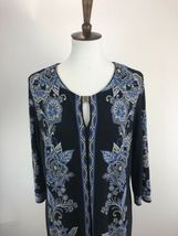 Sandra Darren Womens Dress 14 Blue Floral Print Shift Keyhole Scoop Neck A3-05P image 3