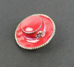 Vintage Red Hat Pin Brooch Signed Best Gold Tone Purple Rhinestone - $13.43