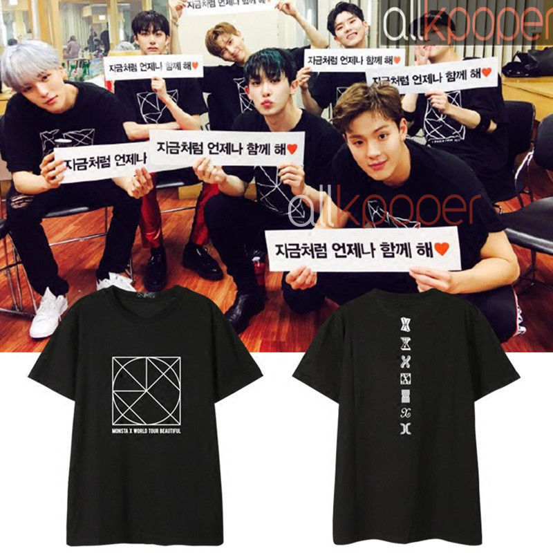 KPOP Monsta x T-shirt BE BEAUTIFUL Concert Tshirt Lee Joo Heon Tee Shownu Tops