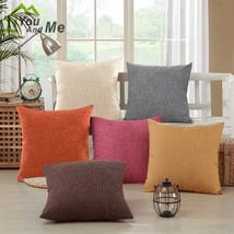 """18"""" Soild Color Simple Pillowcase Cotton Linen Throw Sofa Pillowcase Home Decor - $4.13"""