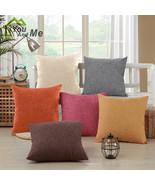 """18"""" Soild Color Simple Pillowcase Cotton Linen Throw Sofa Pillowcase Hom... - $4.59"""