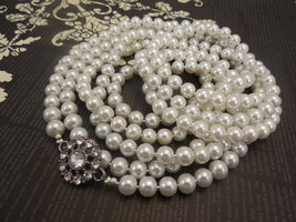 Long One Strand, 8mm White Glass Pearl Necklace with Round Flower Pendant - $65.00