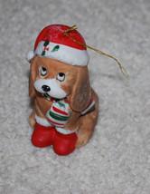 Vintage House of Lloyd 1988 Sad Eyes Puppy Dog Santa Hat Christmas Ornam... - $13.32