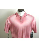 Nike Mens Dri-Fit Short Sleeve 2 button polo shirt Red White Striped Med... - $34.99
