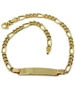 18K YELLOW GOLD BRACELET 3.5 MM ROUNDED FIGARO GOURMETTE 3+1, WITH PLATE... - $659.00