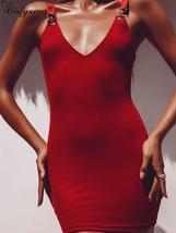 Colysmo 2019 Summer Dress Women Satin Strap Metal Buckle V-neck Slim Fit... - $36.80