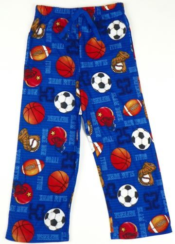 Boys Pajama Pants Up-Late Lounge Sleep Bottoms Flannel Sports Print Pant
