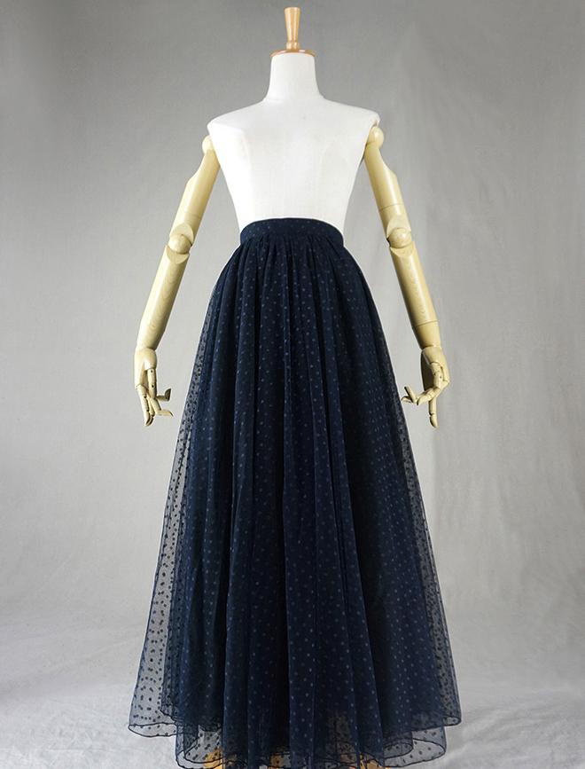 Navy black dot tulle skirt 1