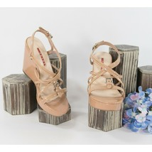 Prada Nude Patent Strappy Wedge Heels Shoes Sz 36.5 6.5 - $192.56