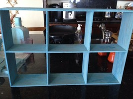 "Decorative Turquoise Wooden 6 Shelf Wall Curio (7"" Each Square) 4"" Deep - $44.99"
