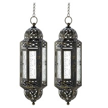 2 Victorian Hanging Candle Lanterns Clear Pressed Glass Weathered Finish - $35.95