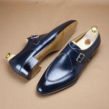 Handmade Men's Blue Monk Strap Formal Dress Shoes image 7