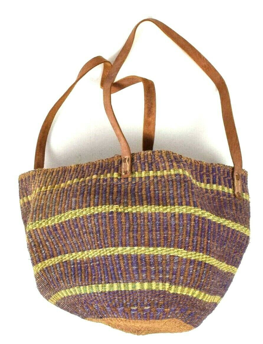 Primary image for Vtg Purple Straw Leather Strap Beach Tote Bag Hippie Satchel Bucket Purse Sack