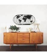 Black Metal Wall Decor Mural Home Wall Art Hanging World Map Globe Oval ... - $156.15