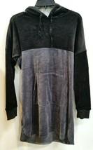 """DKNY Long Pullover Velvet Hoodie """"Black/Gray"""" sz S - $18.09"""