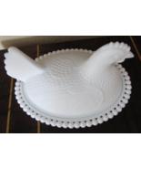 Indiana Glass OPEN BEAD Milk Glass Hen-on-a-Nest - $25.00