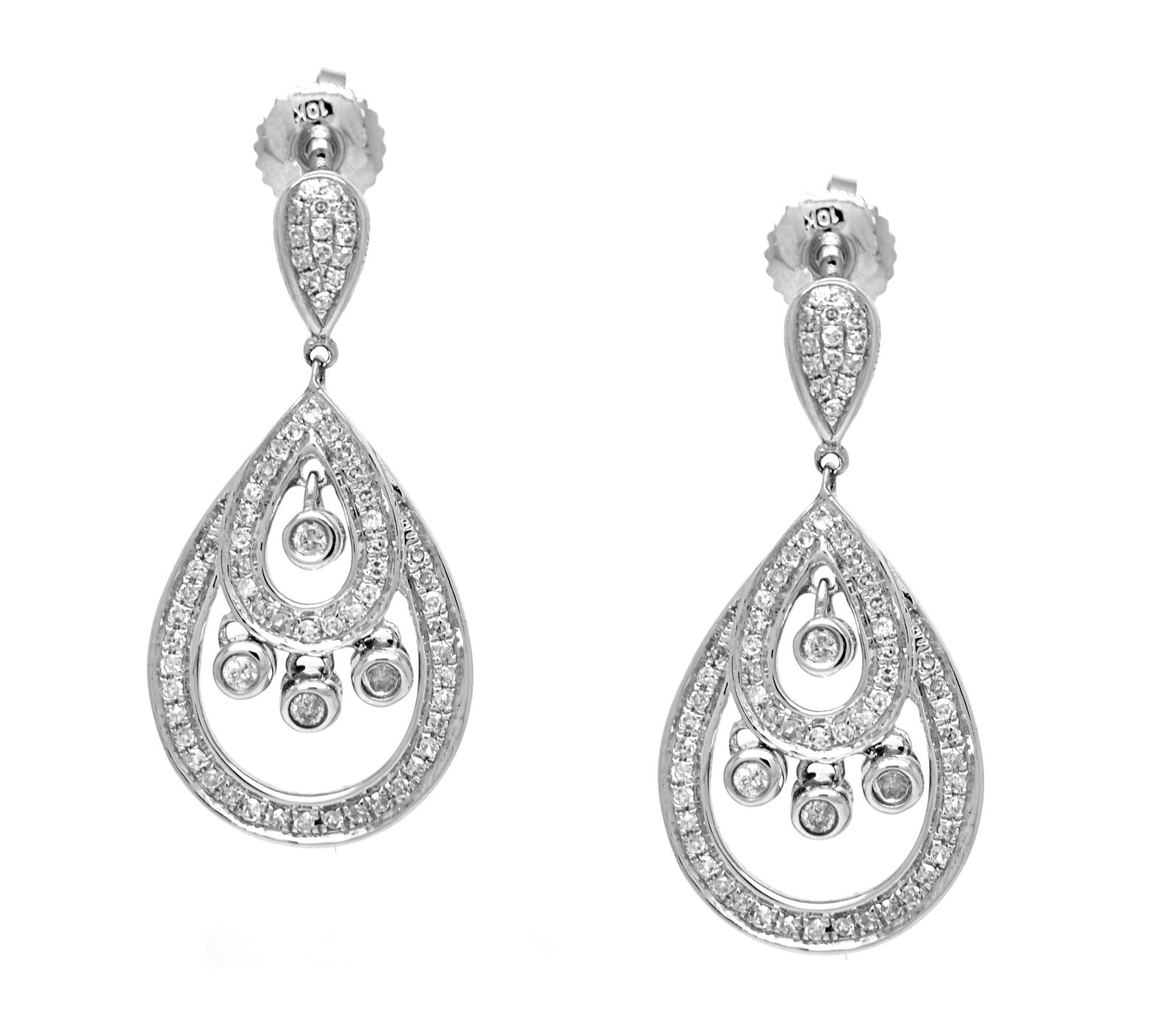 10 K White Gold 0.35 Ct Diamond Dangling Earrings