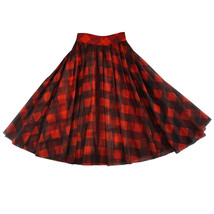 Womens Red Plaid Skirt Long Tulle Plaid Skirt - Red Check,High Waist, Plus Size image 13