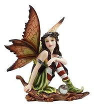 """Ebros Woodlands Elf Fairy with Gazing Ball Sitting On Oak Leaf Statue 5.5"""" Tall  - $24.99"""