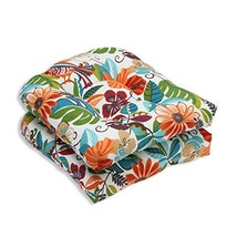Pillow Perfect Outdoor/Indoor Lensing Jungle Wicker Seat Cushion, Set of 2 - £34.24 GBP