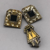 Vintage Clip On Earrings & Brooch Set Jewelry Mid Century - $48.50