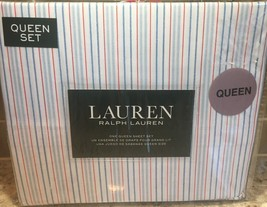 RALPH LAUREN QUEEN SHEET SET CONTEMPORARY STRIPES RED WHITE BLUE FREE GIFT - $83.66