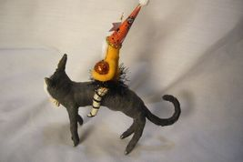 Vintage Inspired Spun Cotton Girl on Black Cat Hallowee image 3