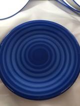 "Pier 1 Imports Blue Swirl Salad Plates Handpainted Italy 8"" - $24.70"