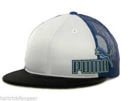 Puma Blue Black White Yellow Meshback Flat bill Snapback Cat Logo Cap Hat - $18.99