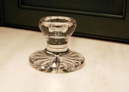 Waterford Irish Crystal Cut Glass Short Candlestick Oval Rim Cut Rim Star Base - $25.00