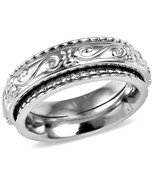 Spinner Ring  design Steel 13 mm wide  size 10 center of the ring spins - $34.08