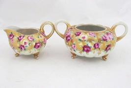 Antique Royal Kinran Nippon Gold Moriage Bead Footed Sugar and Creamer Set Roses - $78.21