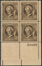 1940 Samuel Clemens Plate Block of 4 US Postage Stamps Catalog Number 863 MNH