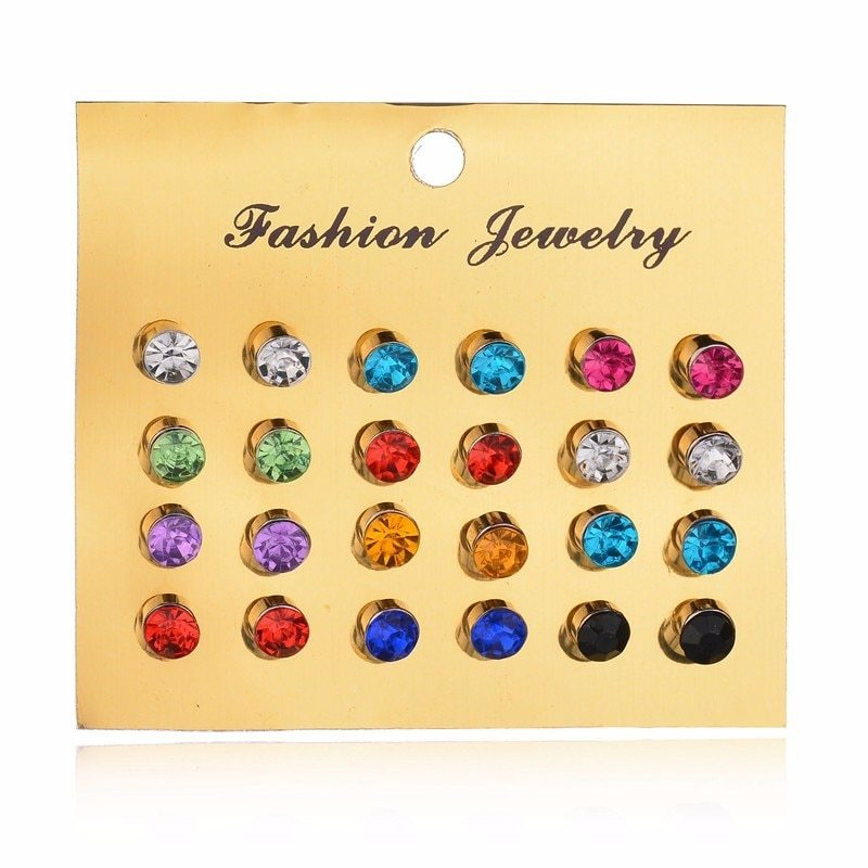 BAHYHAQ - 12 colorfull gem diamond Earrings Set for Women Gift jewelry set