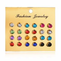 BAHYHAQ - 12 colorfull gem diamond Earrings Set for Women Gift jewelry set - $3.60