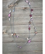 Lia Sophia Pink glass bead long 52 inch necklace lobster clasp multi str... - $14.45