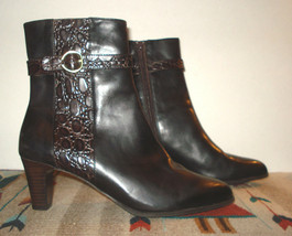 Sundini Black Leather Faux-Croc Brown Trim Heel Zip Ankle Boot Sz. 9.5M ... - $51.78