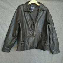 Gap Classic Leather Jacket Size L Large Black - $34.65