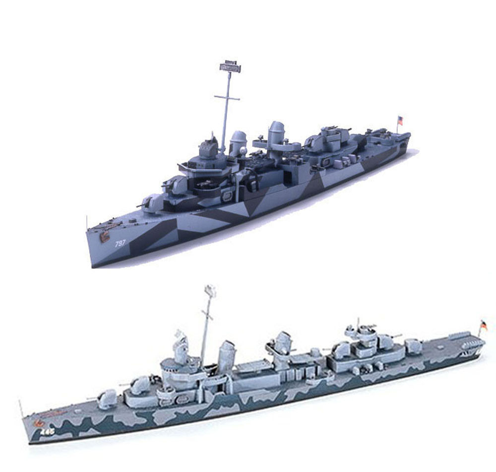 Primary image for 2 Tamiya Ship Models of US Navy Destroyers - DD-797 Cushing and DD445 Fletcher