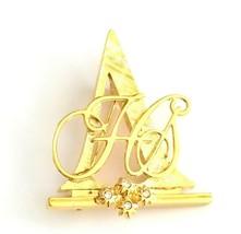 VTG Avon 1992 HS Honor Society Award Pin Gold Tone Crystal Rhinestone Brooch - $25.74