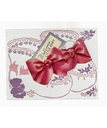 1950s Vintage Clear Plastic New Baby Greeting Card w Diecat Paper Fold Out  - $9.95