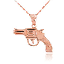 Solid Rose Gold Revolver Pistol Gun Pendant Necklace - $101.42+